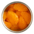Open can of mandarins in light syrup Stock Photography