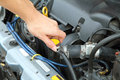 Open the car radiator valve Royalty Free Stock Photo