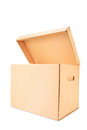 Open cardboard box isolated against white background Royalty Free Stock Photo