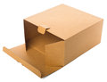 Open cardboard box isolated on white background. Royalty Free Stock Photo