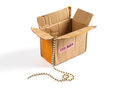 Open cardboard box and precious chain inside.