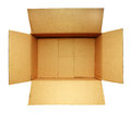 Open cardboard box on white Royalty Free Stock Photo