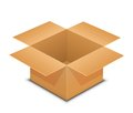 Open cardboard box on white vector illustration of recycle brown paper packaging Stock Photo