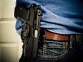 Open carry of handgun in some states the right to openly a firearm is protected Royalty Free Stock Image