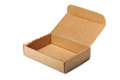 Open carton box empty brown isolated over a white background Royalty Free Stock Photography