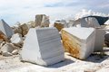 Open cast mine on marble extraction blocks of white in in settlement buguldejka of irkutsk area russia Stock Images