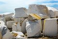 Open cast mine on marble extraction blocks of white in in settlement buguldejka of irkutsk area russia Stock Image