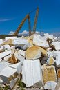 Open cast mine on marble extraction of white in settlement buguldejka of irkutsk area russia Stock Photo
