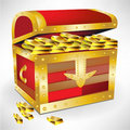 Open chest with golden treasure Royalty Free Stock Images