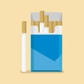 Open cigarettes pack box blank in flat style Royalty Free Stock Photo