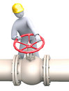 Open or close the gas oil valve man working in refinery turning pipeline Royalty Free Stock Images
