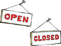 Open and closed cartoon signs Stock Photos