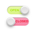 Open closed d toggle switch position in white Royalty Free Stock Photos
