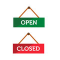 Open and closed door sign illustration of Stock Image