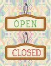 Open and closed door signs board embroidery effect vector illustration of cross stitched boards hand made Royalty Free Stock Photography