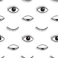 Open and closed eyes vector seamless pattern.