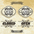 Open and closed labels in vintage style Stock Photo
