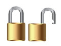 Open and closed padlock over white background Stock Images