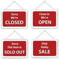 Open Closed Sale Sold Out Hanging Signs Royalty Free Stock Photo