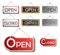 Open and closed sign set made from metal paper plastic wood for shops Royalty Free Stock Image