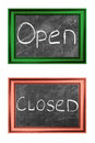 Open and closed signs Stock Images