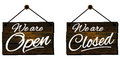 Open and closed signs restaurant retro styled Royalty Free Stock Photos