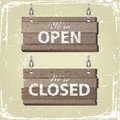 Open and closed signs retro styled wooden Stock Photos