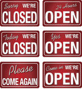 Open closed store signs in red color Royalty Free Stock Photo