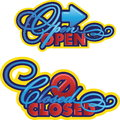 Open closed tekens Stock Foto's