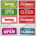 Open and closed vector store signs Royalty Free Stock Photo