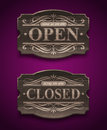Open and closed wooden vintage signs ornate Stock Photography