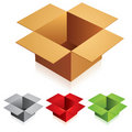 Open color cardboard boxes Stock Images