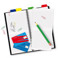 Open copybook with a pencil Stock Photos