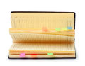Open diary with stickers isolated on a white background Royalty Free Stock Images