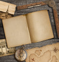 Open diary top view with old treasure map and compass Royalty Free Stock Photo