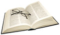 Open dictionary and reading glasses an thesaurus isolated on a white background Stock Photography