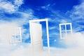 Open door on blue sunny sky. New life, success, hope. Royalty Free Stock Photo