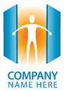 Open door logo a person opens a set of doors to reveal a bright orange light Royalty Free Stock Image