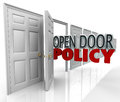 Open door policy words management welcome communication in opened doorway to symbolize and illustrate free and between and Stock Photography