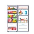 Open door refrigerator full of vegetables, fruits