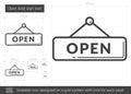 Open door sign line icon.