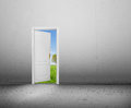 Open door to a new world the green summer landscape conceptual better way entrance life hope Royalty Free Stock Photos