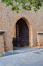 Open the door to the old castle. Royalty Free Stock Photo