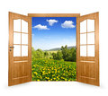 Open the door to spring landscape Stock Image