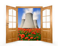 Open the door to spring landscape with nuclear power plant Stock Photos