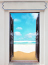 Open doors and sea beach Royalty Free Stock Photos