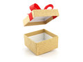 Open and empty golden gift box with red ribbon bow Royalty Free Stock Photo