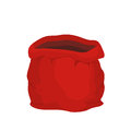 Open empty sack Santa Claus. Red big bag for gifts. Royalty Free Stock Photo