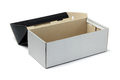 Open empty shoe box on white background Royalty Free Stock Photography