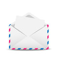 Open envelope air with the clean sheet of paper inwardly illustration Royalty Free Stock Photo